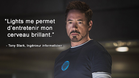 Robert Downey Jr. jouant Tony Stark dans Iron Man.