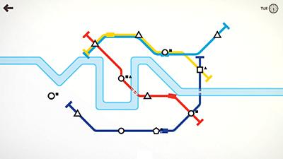 Le jeu Mini Metro développé par Dinosaur Polo Club est un bon exemple de jeu minimaliste.