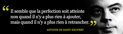 Citation d'Antoine de Saint-Exupéry.