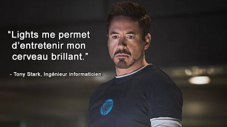 Robert Downey Jr. jouant Tony Stark dans Iron Man.