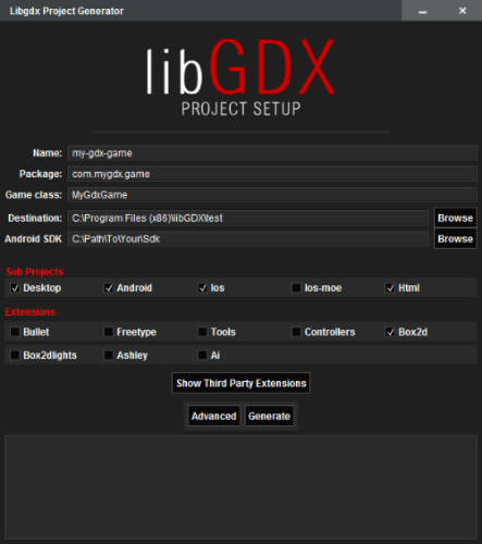 Image du logiciel de création de projet LibGDX.